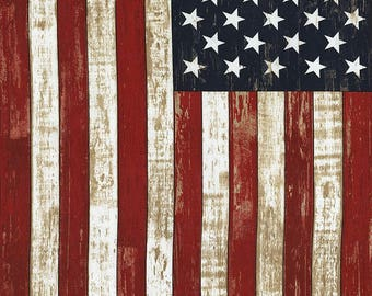 "American Flag Cotton Woven 24"" Panel by Timeless Treasures"