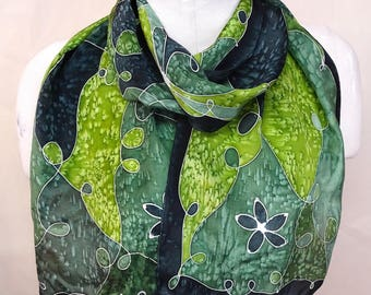 Forest Green Patchwork - Hand Painted Silk Scarf - wearable art - medium scarf 11x60 inches
