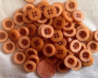 "Lot of 24 Small Matte Burnt Orange Plastic Sew-through Buttons Just Over 7/16"" 12mm # 7133"