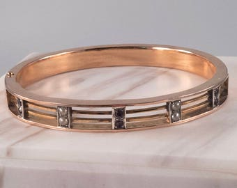 Elegant Victorian Bangle Bracelet with seed pearls and amethyst 14K-GF