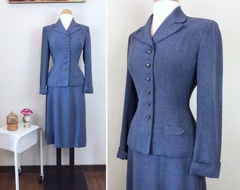 Vintage 1940s Suit / Gray Blue / Fitted / WWII era / Early 40s suit