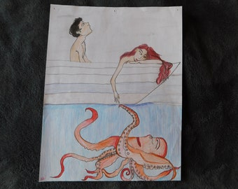 Hand drawn and colored picture of couple with octopus