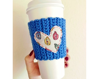 Heart Coffee Cozy | Blue Coffee Cozy | Knitted Coffee Cozy