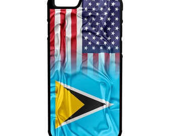 St Lucia American Flag iPhone Galaxy Note LG HTC Protective Hybrid Rubber Hard Plastic Snap on Case Black