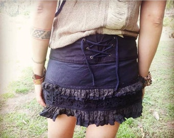 Black cotton gypsy skirt