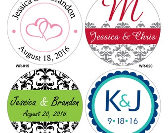 160 - 1.25 inch Custom Glossy Waterproof Wedding Stickers Labels - hundreds of designs to choose - change designs to any color or wording