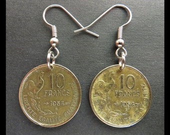 Classic Antique (1954 Vintage: French Rooster, Republique Francaise 10F Liberte Coin Earrings with Hypoallergenic Hooks) ART DECO Pendants!