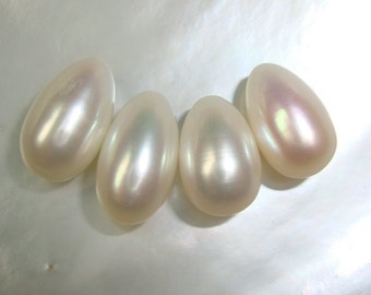 25% off 2 pairs - 9-10x7-8mm, Freshwater Pearl, Fresh Water Half Drilled Pearl, Lustrous Gorgeous White Pearls Oval Drop Shape