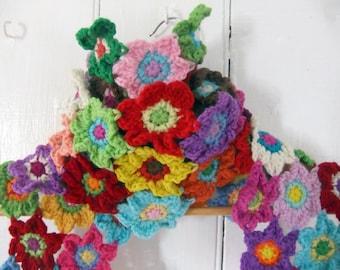 Crochet Scarf Pattern - Bright Blooms Flower Scarf - PDF crochet accessory pattern