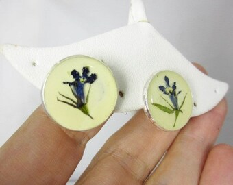 Blue Lobelia Post Earrings,   Pressed Flower Earrings ,Real Flowers, Post Earrings,  Resin (1709)