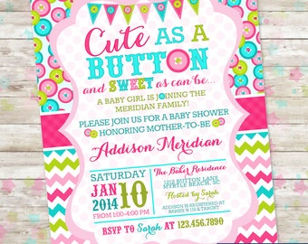 Cute as a Button, Baby Shower Invitation, Printable Invite, Sweet as can be, Buttons baby Shower, Digital File, Girl Baby Shower