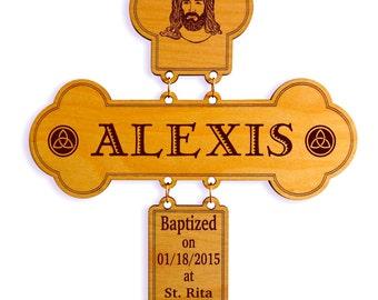 Catholic Baptism Gift - Christening Gifts from Godparent - Baptismal Gift for Godchild - Godson - Goddaughter - Personalized Cross.