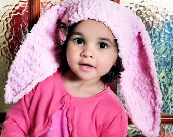 12 to 24m Baby Bunny Hat Baby Pink Toddler Beanie Crochet Bunny Ears Baby Hat Pink Bunny Animal Hat Toddler Photo Prop, Baby Gift