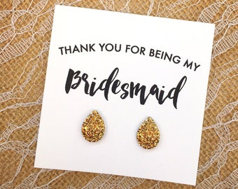 Bridesmaid Gift - Teardrop Druzy Earrings