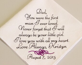 FATHER Of The BRIDE, Father in Law, Handkerchief Hanky Hankie, Gift for DAD - Wedding Gift for Father of the Bride