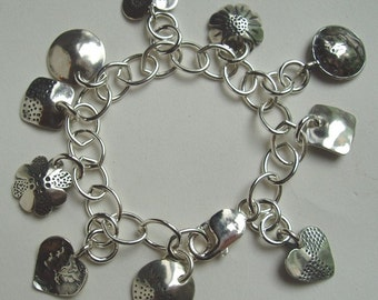 Recycled US Coin Dime Designs Charm Bracelet made from Vintage American Silver Coins