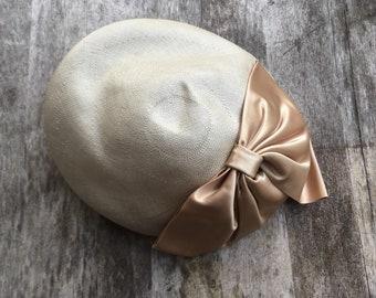 1950s Straw fascinator hat