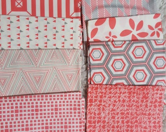 Bundle of 8 Fat quarters in shades of orange/gray/white