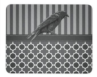 Raven Gray Stripes Trendy Mouse Pad