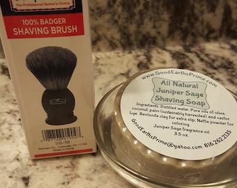 JuniperSage Shaving Soap * Shaving brush * Glass Shaving bowl  handmade soap with bentonite clay for a smooth shave