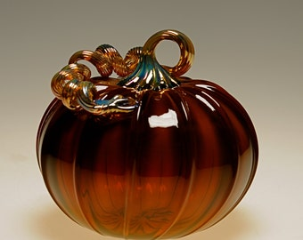 Handmade Gold Brown Pumpkin-Transparent Made in Corning, NY Steuben County