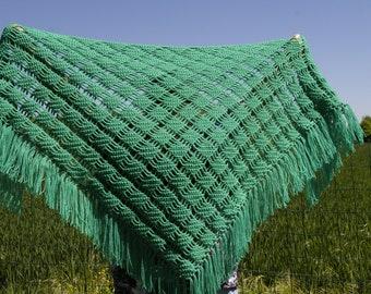 Crochet shawl.  Green shawl.