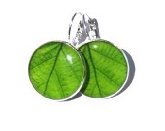 LEAF EARRINGS - Green Leaf - Leaf Dangle Earrings - Garden earrings - Leaves Earrings - Nature Earrings - Green Leaves - Spring