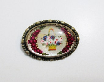 Vintage Brooch: Reverse Painted Basket of Flowers