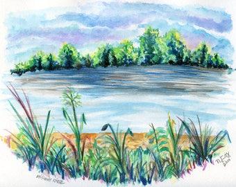The River Original Watercolor Prints & Cards