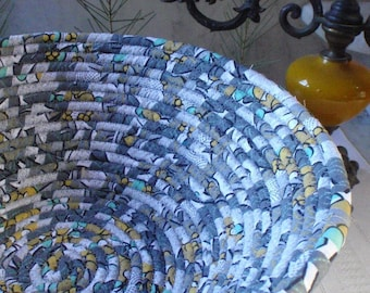 Mid-Century Modern Coiled Fabric Basket - Shades of Gray, Mustard Gold, Light Turquoise - LARGE - Handmade by Me