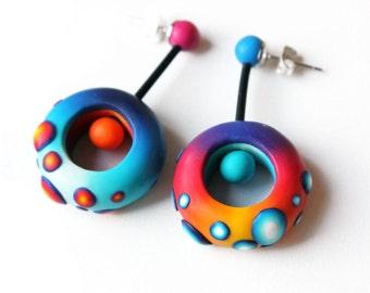 Polymer Clay Earrings, Fimo, cool earrings, wearable art, colorful earrings, contemporary jewelry, OOAK, boho, long earrings, made to order
