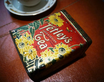 Antique Tetley's Tea Tin - Art Nouveau 1920s