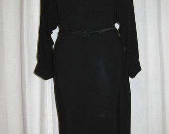 Antique Black Crepe Dress with Beadwork
