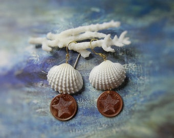 Seashell Starfish Coin Earrings - Mermaids Lucky Pennies - Seashell Bahama Starfish Coin Earrings