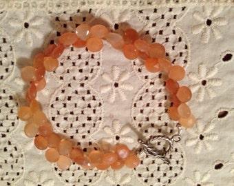 OOAK Handcrafted Faceted Briolette Peach Moonstone Bracelet