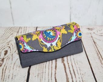 Women's wallet, cork wallet, fabric wallet, clutch purse, accordion wallet