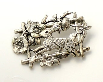 1pcs--Brooch, Rabbit, with Rhinestones, Antique Silver, 46x30mm (B34-1)