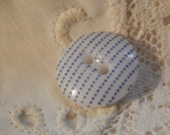 White China Two Hole with Pattern 27 - Antique Button with Blue Color