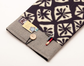 30% OFF SALE Dark Linen MacBook Air Case with tribal print pocket. Case for MacBook 11 Air. Sleeve for MacBook Air 11 inch.