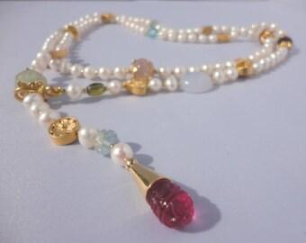 long pearl necklace, Adjustable  Necklace, semiprecious necklace, Drop Necklace ,pearl strand, freshwater necklace,  pearl beaded necklaces