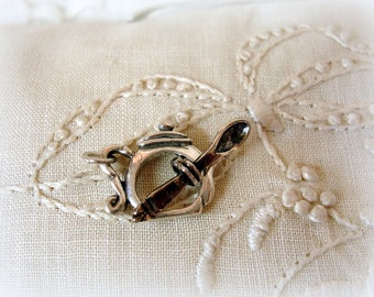 sterling silver teapot toggle clasp with spoon cUte toggle clasp sterling silver teapot and spoon sold by the SET