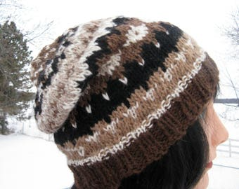 Knit Fair Isle Alpaca and Wool Hat for Men and Women - Natural Brown, White, Tan and Black - Winter Slouchy Beanie, Cloche, Slouch