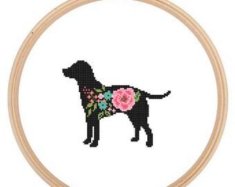 Labrador Retriever Silhouette Cross Stitch Pattern Floral roses Pet animal wall art Dog cross stitch modern trendy great gift