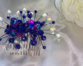 Blue crystal and glass hair-comb, statement, decorative hair-vine perfect for bridesmaids, wedding, evening dress events, balls or the races