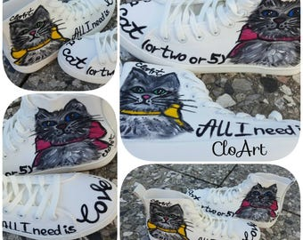 Lovely cats sneakers, Hand Painted, Sneakers, Cats, All I need, Love Cats, Shoes, Footwear, Custom Sneakers