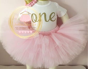 Pink and gold birthday outfit - 1st birthday tutu outfit - cake smash outfit - pink and gold birthday party - pink and gold cake smash