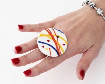 Ceramic ring, Abstract Art, Statement Ring - fashion ring, boho ring, adjustable ring, gift for her, handmade ring by Studioleanne