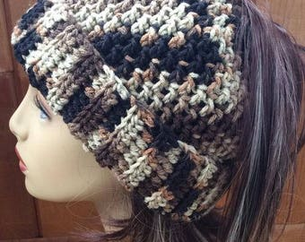 Messy Bun Ponytail Hat - Brown and Black Camo Colors