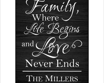 """Personalized Family Plaque, Custom Family Wall Decor, """"Family, where life begins and love never ends."""" Personalized Laser Engraved"""