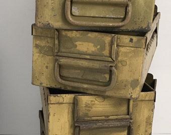 Vintage Metal File Drawer, Desk Organizer, Antique metal file drawer, Industrial Decor